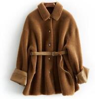 100% Real Shearling Lamb Fur Coat Winter Sheep Skin Leather Jacket Womens Jacket