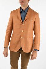 CORNELIANI men Suit Jackets Sz 50 IT Orange Checked Single Breasted Blazer Fl...