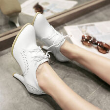 Zhou80 Womens Pointy Toe Lace Up Wing Tip Carved Stiletto High Heel Brogue Shoes