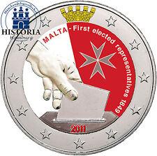 Malta 2 Euro Gedenkmünze 2011 bfr. Wahl des 1. Abgeordneten in Farbe
