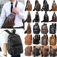 Mens Faux Leather Sling Chest Pack Travel Crossbody Shoulder Bag Retro Backpack