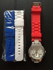 WOMENS WATCH WITH 3 COLORFUL SILICONE BRACELETS