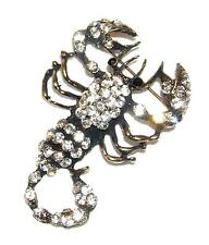 Antiqued Goldtone Bold Scorpion Brooch/Pin Br42 Bright Crystals &