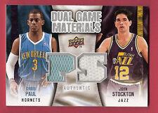 CHRIS PAUL & JOHN STOCKTON DUAL GAME WORN JERSEY CARD LOS ANGELES CLIPPERS JAZZ