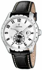 Festina F16486/1 Stainless Steel Case White Dial Black Leather Strap Men's Watch