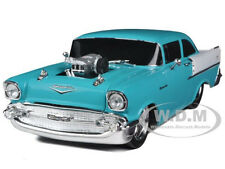 1957 CHEVROLET 150 TURQUOISE & INDIA IVORY 1/24 CAR BY M2 MACHINES 40300-34A