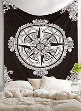 Large Compass Tapestry Indian Hippie Wall Hanging Black and White Mandala Throw