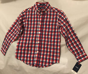 IZOD Boys Dress Shirt. Red/White/Blue Plaid. Long Sleeve. Button Up. Size 8. NWT