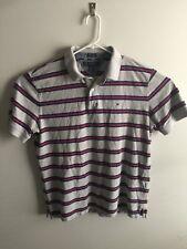 VTG Tommy Hilfiger Men's XL Grey Red Blue Horizontal Striped Polo Shirt