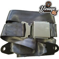 Classic Car Seat 2 Point Lap Seat Belt Front Rear Chrome Buckle Grey Webbing