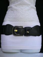 CUTE WOMEN ELASTIC BAND HIP WAIST BLACK FASHION BELT BOW SILVER BUCKLE SIZE S M