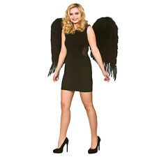 Deluxe Large Feather Wings - Black Angel Fairy Sprite Fancy Dress Cosplay