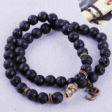 2X Herren Armband Buddha Lava Stein Perlen Armbänder Glücks Men Beaded Bracelet