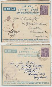 1943 2x forces censored air letters *MEF-SWINTON* & *CMF-LONDON*