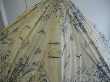 Blue & white cotton antique decorative doll parasol with children motif 29""