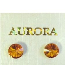 "3/8"" (8mm) Round Orange Crystal Stud Post Earrings"