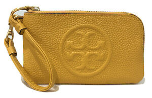 TORY BURCH Perry Bombe Leather Top Zip Card Case WRISTLET Wallet DayLily New