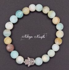 Tibetan Silver Hamza Hand and Natual Frosted Amazonite Gemstone Beaded Bracelet