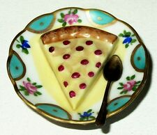 Limoges Box~ Cherry Cheesecake On A Plate ~ Spoon & Napkin ~Dessert~ Peint Main