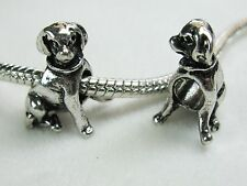 Labr Retriever Puppy Dog Charms Tibetan Silver for European Big Hole Jewelry