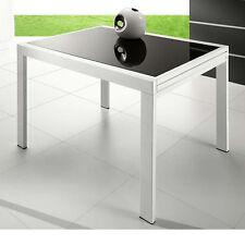 VR120-Tavolo allungabile in metallo con piano in vetro 120x90cm, diversi colori