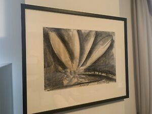 Magnificent Large PRO HART (1928-2006) DRAGONFLY Charcoal And Watercolour signed