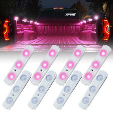 Xprite Pink 8 LED Rock Light Pods Strip Offroad Truck Bed Lighting Kit w/ Switch
