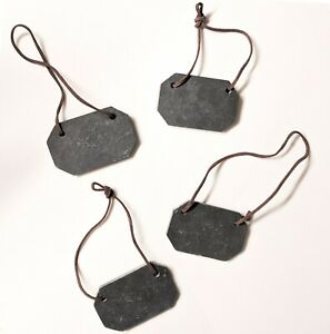 Set of 4 Black Slate Bottle Labels with Leather Tie and Velvet Pouch