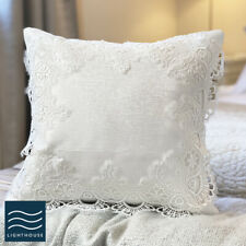 """Pair of Soft White Lace Damask Cushion Covers Vintage Country 16"""" Crochet Square"""