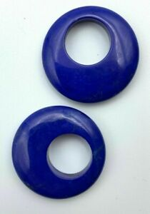 T049 - 2 Pair Genuine Lapis (Dyed) Stone Hoops - 30mm Round - Vintage Stock