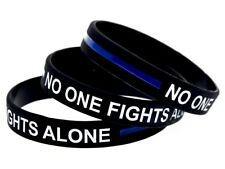 No One Fights Alone Cancer Wristband Silicone Band Survivor Mens Ladies Womens