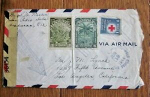 WW2 HONDURAS 1944  CENSORED COVER TO LOS ANGELES CALIFORNIA RED CROSS STAMP