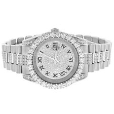 Presidential Link Watch Roman Number Stainless Steel Solitaire Simulated Diamond