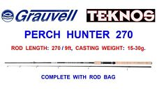 GRAUVELL TEKNOS 2pc 9ft CARBON PERCH HUNTER ROD COARSE LURE FISHING SPINNING