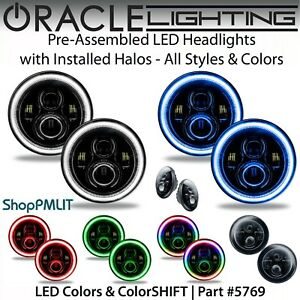 "ORACLE Pre-Assembled Black - High Power LED Halo 7"" Round Headlights *All Colors"