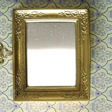Miniature Gold coloured Mirror for a dolls house  63mm x  54mm : 12th scale