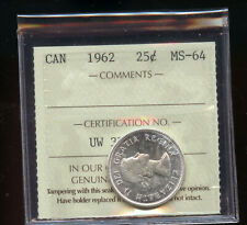 1962 Canada 25 Cents ICCS Certified MS64 DCB155
