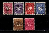 Germany stamps #212 - 217, mint & used, complete set, 1922, SCV $20.20