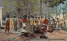 Vintage Postcard Black African American Wash Day on Old Plantation
