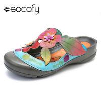 SOCOFY Women Genuine Leather Shoes Splicing Adjustable Hook Loop Sandals Flat