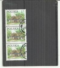 Poland 1999 Buildings 1z Strip of 3 Fine Used