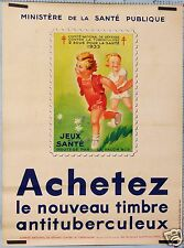 FRENCH VINTAGE POSTER PREVENTION CAMPAIGN BUY STAMP AGAINST TUBERCULOSIS 1933