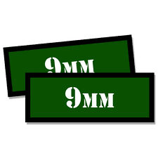"""9MM Ammo Can 2x 9MM Labels Ammunition Case 3""""x1.15"""" GREEN stickers decals 2 pack"""