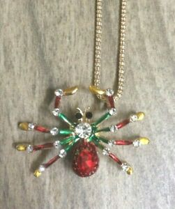 Betsy Johnson Crystal Colorful Spider Pendant & Brooch Pin on a Gold Necklace!