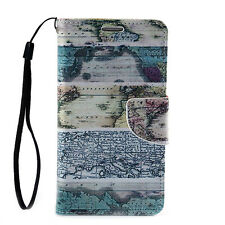 Leather Flip Wallet Stand Case Cover For Samsung Galaxy Note 2 II N7100 Map Blue
