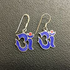 OM Lapis Drop Earrings - 925 Sterling Silver Ohm Om *NEW* Namaste Yoga India