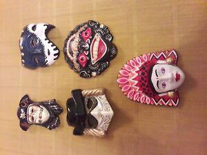 Set maschere in terracotta dipinte a mano - vendo solo in blocco