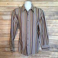 NYNE New You New Energy Mens Shirt Blue Brown Khaki Stripe LS Cotton Size XL