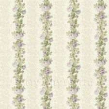 Puppenhaus Miniatur Blass Violett Kletterrose Streifen Tapete