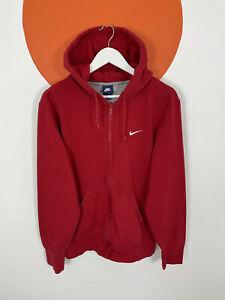 Men's Vintage Nike Zip Hoodie Sweatshirt Sweater Top Red UK Size L Large